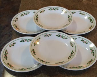 "Vintage Corelle Corning Winter Holly Berry White Christmas 6 3/4"" Bread Dessert Plate Set of 6"