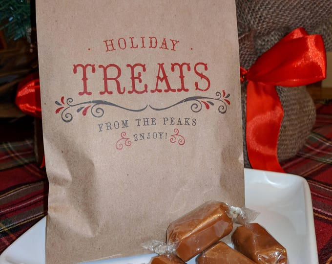 HOLIDAY TREATS Christmas Holiday Candy Bags, Personalized Favors - Filled with caramel, toffee or brittle - great gift for neighbor, teacher