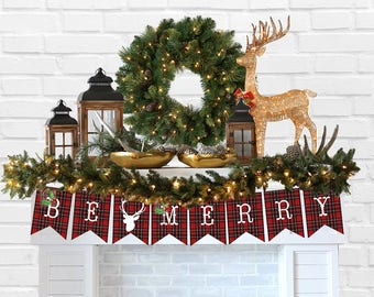 Christmas Be Merry Tartan Decorating Banner Printable - INSTANT DOWNLOAD Mantel decorating Banner, Tartan Plaid