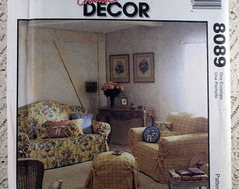 ON Sale McCalls 8089 Slipcovers Sewing Pattern Sofa Slipcover Chair