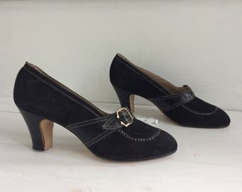 Vintage 30s Shoes Deco Heels Black 6 1930s