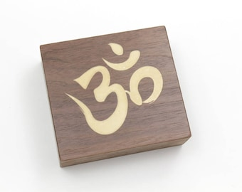 Aum, or Om, Buddhis Mantra Symbol - Solid Walnut Shelf Sitter. Add some Zen to Your Home or Studio.  by Timber Green Woods. Made in the USA.