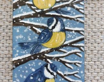 Naive Art Folk Original Painting Canvas Birds Blue Tits Acrylic