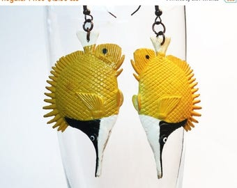 ON SALE 50% OFF Fish Earrings - Yellow Black Earrings - Longnose Butterflyfish Earrings - Statement Earrings - Tropical Earrings - Upcycled