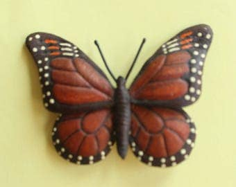 Vintage Leather Monarch Butterfly Pin