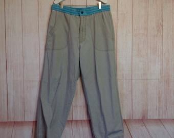 Vintage 1990 90s OP Ocean Pacific Elastic Waist Beach Surf Pants Mens 34 Gray and Teal