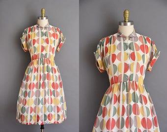 ON LAYAWAY...L'Aiglon vintage 50s colorful chiffon print vintage dress. 1950s vintage dress