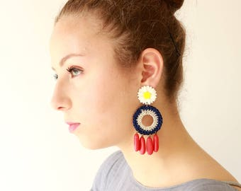 Long Flower Earrings, colorful hippie earrings, Hand crafted Knitted red and blue long stud earrings, statement jewelry