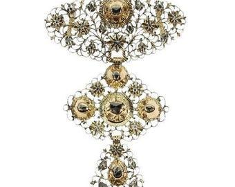 ON SALE Rare antique gold diamond cross pendant Jeannette c.1830