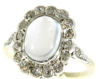 ON SALE Estate 0.54ct diamond 2.00ct blue moonstone ring 14k yellow white gold 1940s