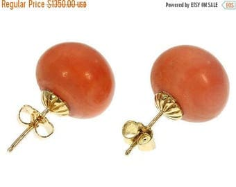 ON SALE Antique Victorian big coral studs earrings 18K rose gold c.1880