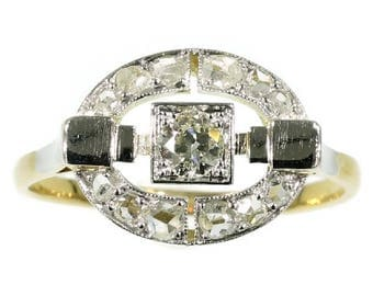 Art Deco diamond ring oval yellow gold square old European cut diamond .23ct rose cut diamonds vintage engagement ring 1920s jewelry