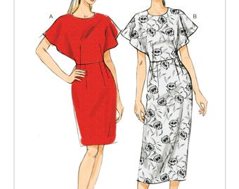 Sz 6/8/10/12/14 - Vogue Dress Pattern V9021  - Misses' Fitted, Cape Sleeve Dress in Two Lengths - Very Easy Vogue Pattern