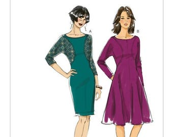 On Sale Sz 16/18/20/22/24 - Vogue Dress Pattern V8919 - Misses' Pullover, Seam Detail Dresses in Two Variations - Very Easy Vogue Pattern
