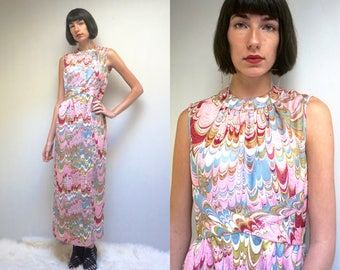 PSYCHEDELIC DRESS 70s Dress Maxi Dress Maxi Dress Pencil Dress Mod Dress Sleeveless Dress Party Dress Long Dress Boho Dress