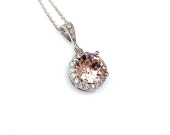 Bridal necklace bridesmaid wedding gift Sterling silver necklace round swarovski vintage rose blush pink rhinestone cubic halo pendant