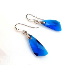 bridesmaid gift something blue swarovski capri cobalt blue crystal dragon fly wing drop earrings simple rhodium plated hook earrings