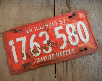 Illinois License Plate 1957 Rat Rod Rustic, Garage, Mancave, Industrial, Cafe and Bar Metal Wall Art Decor