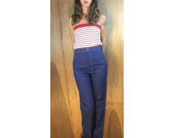 Unworn Vintage 70s Ultra High Waist Denim Trousers  // size 8 26x33