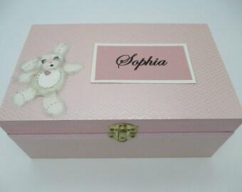 Baby Girl Keepsake Box - Wooden Keepsake Box- Wooden Memory Box- Birthday Letters - 1st. Birthday -Time Capsule