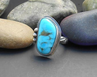 Kingman turquoise ring, genuine turquoise, blue stone, turquoise sterling, sterling silver ring, boho ring, southwest jewelry, gift for mom