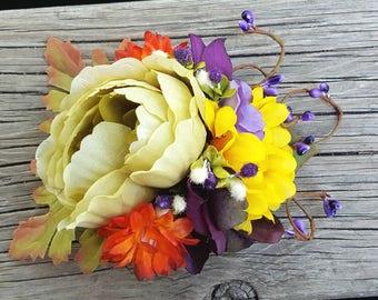 Fall Bridal Hair Comb, Wedding Comb Flower Comb, Floral Wedding Comb Autumn colors Bridal Comb, Wedding Flower Comb Brides  fall wedding