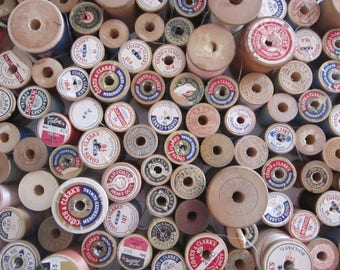 vintage thread - 170 wooden spools - some empty
