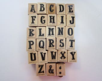 rubber stamps - ATTITUDE ALPHABET upper case - Stampin Up 1998 - used rubber stamp