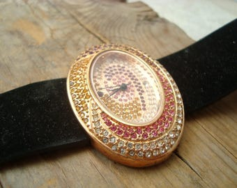 Vintage Suzanne Somers Watch - Oval, Gold Metal With Crystal Inlay Fall Fashion Autumn Rust Brown Pink Golden Costume Statement Jewelry