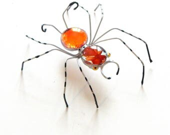 """Red Orange and Silver Handmade Wire Spider, Unique Gift for Him Her, Collectible, 3 """" Wire Spider, Decoration, Ornament, Pet Bug, Arachnid"""