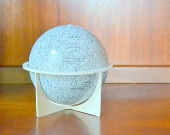 vintage 1970s replogle moon globe / midcentury office decor / vintage metal globe