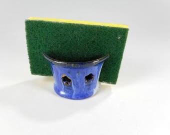 Ceramic sponge holder, pottery sponge keeper, stoneware sponge holder with stars, kitchen sponge holder, pottery sponge caddy, blue glaze