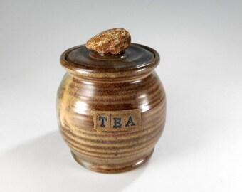 Pottery tea jar, ceramic tea jar, lidded ceramic kitchen tea storage jar, stoneware tea jar with lid and rock knob, pottery TEA canister