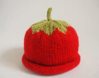 Strawberry beanie hat for 0-3-year-old