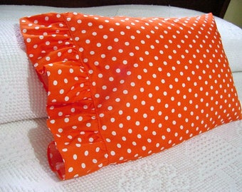 Ruffled Li'L Boudoir Pillowcase -Toddler Travel Lumbar Pillow Cover -Orange & White with Polka Dots for 12x16 ..Other colors made to order