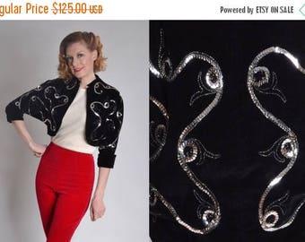 HALF PRICE SALE Vintage 1950s Black Velvet Jacket - Silver Sequin Matador Bolero - Edith Phillips Fashions