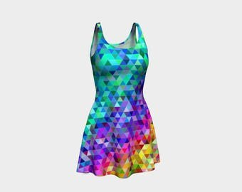 Rainbow Tri Skater Dress | Size XS S M L XL | Bold Design Pattern | Party Dancing Ice Roller Skating | Short Fitted Sleeveless Mini Dress