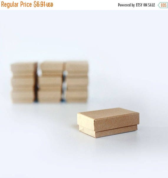"""ON SALE Mini- Kraft Jewelry Boxes filled with cotton  2 1/8"""" x 1 5/8"""" x 3/4""""H   lot of 10"""