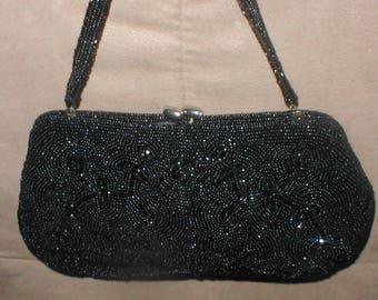 Vintage Black Beaded Evening Bag Purse