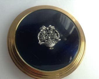 Vintage Compact Mirror, 1950s, Made in Great Britain, Rockabilly, Marcasite Compact