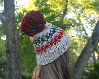 Red & Grey Fair Isle Hat, Fair Isle Hat, Women's Knit Hat, Pom Pom Hat, Slouchy Hat, Winter Hat, Hand Knit Hat, Knit Hat, Chunky Knit Hat