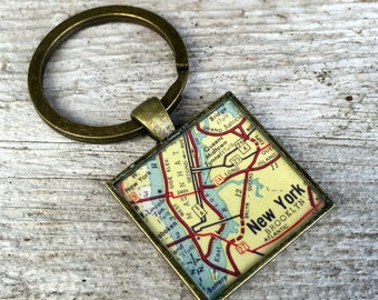 manhattan new york city keychain | new york manhattan gift | 1959 vintage map keychain
