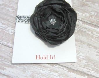 Black Satin Fabric Flower Elastic Headband, Clearance, Baby Headband, Toddler Headband, Satin Headband, Hair Band, Polka Dot