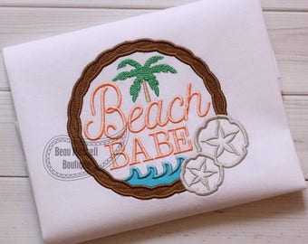 Beach Babe with palm tree and sand dollars applique