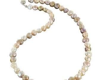 Summer Sale : ) Beautiful Drusy Pearl Necklace Multi Color Sterling 16.5""