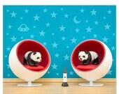 FALL SALE Mid century modern baby animal print: Space Pandas
