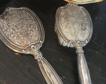 Vintage 1920's Hand mirror & Brush set marked 800