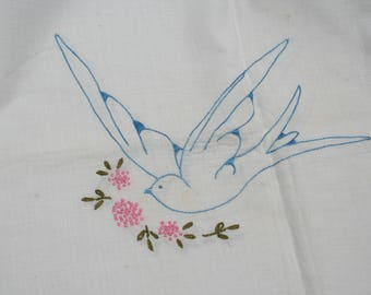 Vintage Embroidered Coverlet Bedspread and Pillow Cover Blue Birds Flowers Twin Size