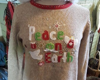 """Peace on Earth """"Ugly"""" Christmas Sweater"""
