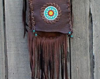 ON SALE Mandala bag ,  Crossbody bag ,  Fringed leather bag , Leather handbag , Handmade leather bag , Beaded bag